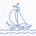 """Embroidered Sailboat"" for nautical nursery"