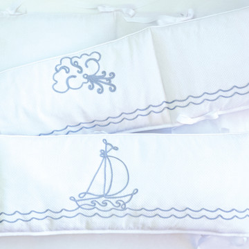 "Crib Bumper with ""Embroidered Sailboat"""