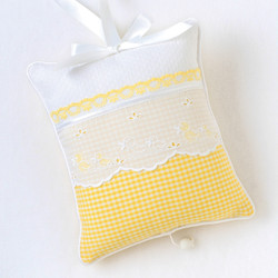 """Musical Pillow in """"Checker"""" & """"Honeycomb"""" with 'Duckling' & 'Sweet Pea'"""