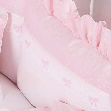 """Crib Bumper in pink """"Celeste"""" with 'French Bow' & 'Lullaby'"""