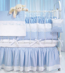 "Crib Ensemble in blue ""Celeste"" with 'Sailboat' & 'French Ribbon'"