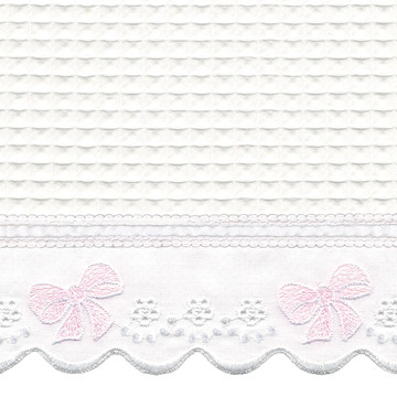 "Fabric & Embroidery Sample - ""Waffeweave"", pink 'French Bow' & 'French Ribbon'"