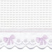 "Fabric & Embroidery Sample - ""Waffeweave"", lavender 'French Bow' & 'French Ribbon'"