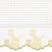 "Fabric & Embroidery Sample - ""Waffeweave"", golden 'Giraffe' & 'French Ribbon'"