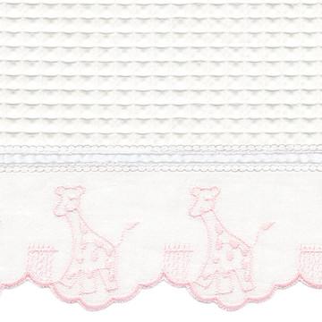 """Fabric & Embroidery Sample - """"Waffeweave"""", pink 'Giraffe' & 'French Ribbon'"""
