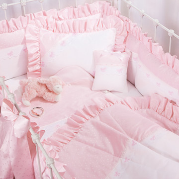 "Baby girl bedding in pink ""Celeste"" with 'French Bow' & 'Lullaby'"
