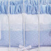"Crib Bumper in blue ""Celeste"" with 'Sailboat' & 'French Ribbon'"