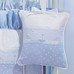 """Musical Pillow in blue """"Celeste"""" with 'Sailboat' & 'French Ribbon'"""
