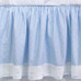"""Crib Skirt in blue """"Celeste"""" with 'Sailboat' & 'French Ribbon'"""