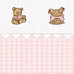 """Fabric Sample in pink """"Hopper"""" & white """"Primel"""" with 'Baby Bears' & 'Ric Rac'"""
