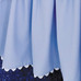 "Crib Skirt in periwinkle ""Primel"" with white 'Ric Rac'"