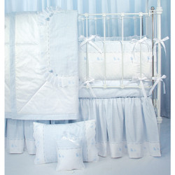 "Crib Ensemble in blue ""Hopper"" & ""Primel"" with 'Lullaby' & 'Duckling'"