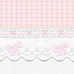 "Fabric Sample in pink ""Hopper"" & white ""Primel"" with 'Lullaby' & 'French Bow'"