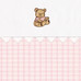 "Fabric Sample in pink ""Hopper"" & ""Primel"" with sitting 'Baby Bear' & 'Ric Rac'"