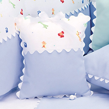 "Musical Pillow in ""Little Zoo"" & periwinkle ""Primel"" with 'Ric Rac'"
