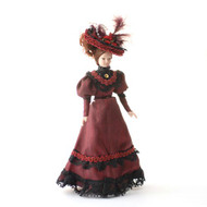 Porcelain Victorian Lady in Burgundy Dress & Hat