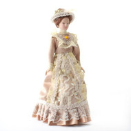 Porcelain Victorian Lady in Beige Dress & Hat