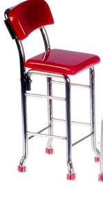 1950's Red / Chrome Tall Chair
