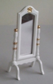 White Wooden Cheval Standing Mirror