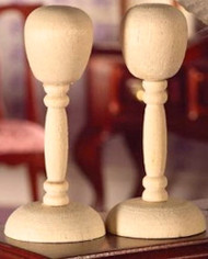 Two Wooden Hat / Wig Stands