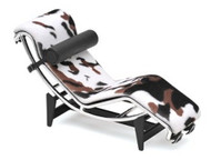 Le Corbusier Style Chaise Chair In Animal Print, Black & Chrome (Limited Edition)