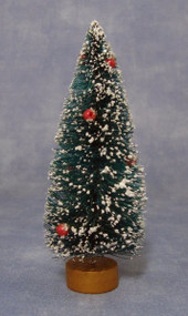 Snow Covered Christmas Tree with Tiny Red Baubles