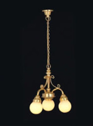Dolls House Chandelier (3-Arm White Globe)