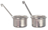 Two Silver Cooking Pots