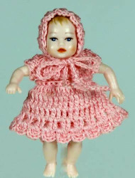 Heidi Ott Baby Doll In Pink Knitted Outfit