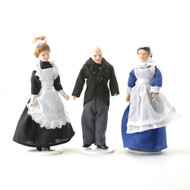 Porcelain Dolls Servant Set of Three, Maids & Butler