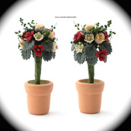 Two Standard Roses in a Terracotta Pot