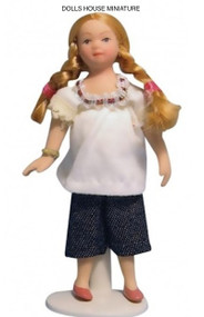 Dolls House Miniature Modern Female Child Doll with Plaited Hair