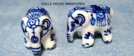 Dolls House Miniature Pair of Ornamental Pot Elephants
