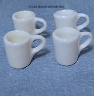 Four White Mugs