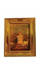 Golden Framed Picture Of A Child & Her Dog