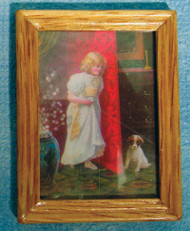 Wood Framed Child & Pet Dog Picture