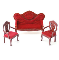 Sofa & Two Chair Set, Red Velvet Effect