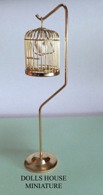 Golden Birdcage & Stand With Bird