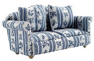 White & Blue Flower Patterned Sofa