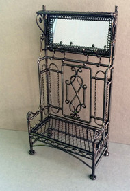 Black Wire Porch Hall Stand With Mirror & Coat Hooks