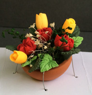 Orange Tulips & Red Roses in a Terracotta Pot