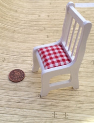 White Wooden Chair with Red & White Checked Cushioned Seat