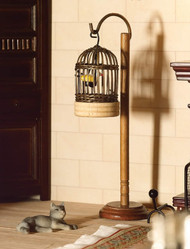 Wicker Bird Cage & Bird With Stand