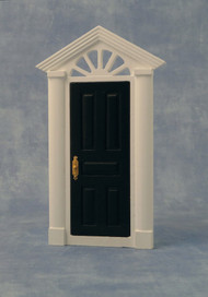 Painted Skylight Front Door Featuring White Surround & Black Door