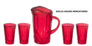 Red Pitcher & Four Glasses