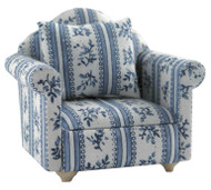 White & Blue Flower Patterned Sofa Chair