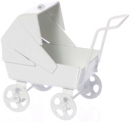 Dolls Small Nursery Pram In White