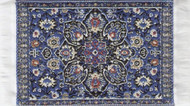 Small Turkish Carpet Rug Blue Patterned