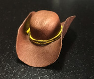 Leather Cowboy Hat With Yellow String