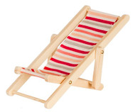Striped Deck Chair Red Pink Grey & White